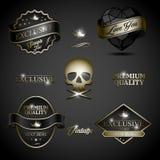 Etiqueta preta do ouro Imagem de Stock