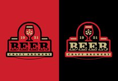 Etiqueta profissional moderna para uma cerveja do ofício Imagens de Stock Royalty Free