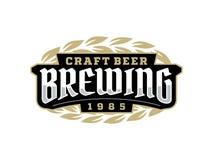 Etiqueta profissional moderna para uma cerveja do ofício Fotografia de Stock