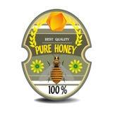 Etiqueta pura de la miel Fotografía de archivo libre de regalías