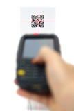 Etiqueta rápida de exploración del código de la respuesta con el laser  imágenes de archivo libres de regalías