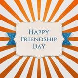 Etiqueta realista del día de fiesta del día feliz de la amistad Imagen de archivo libre de regalías