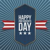Etiqueta realista grande feliz del vector de presidentes Day Imagen de archivo libre de regalías