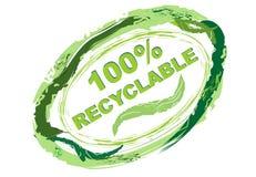 Etiqueta 100% reciclável Fotografia de Stock Royalty Free