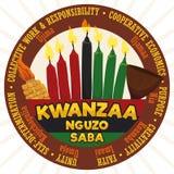 Etiqueta redonda com elementos e princípios tradicionais para a celebração de Kwanzaa, ilustração do vetor ilustração do vetor