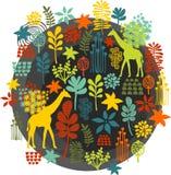 Etiqueta redonda con el bebé del estampado de flores y de la jirafa. Foto de archivo libre de regalías