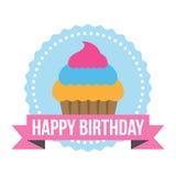 Etiqueta redonda de Zig Zag del feliz cumpleaños Foto de archivo libre de regalías