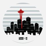 Etiqueta redonda del vector de la silueta de Seattle ilustración del vector