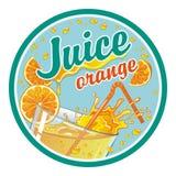 Etiqueta redonda en el zumo de naranja Fotografía de archivo libre de regalías