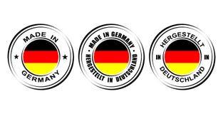 Etiqueta redonda hecha en Alemania con la bandera Fotos de archivo libres de regalías