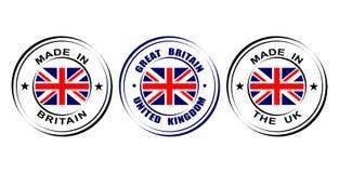 Etiqueta redonda hecha en el ` ` de Gran Bretaña, Reino Unido con la bandera stock de ilustración