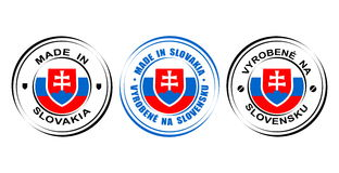 Etiqueta redonda hecha en Eslovaquia con la bandera y el escudo de armas stock de ilustración