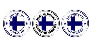 Etiqueta redonda hecha en Finlandia con la bandera Fotografía de archivo libre de regalías