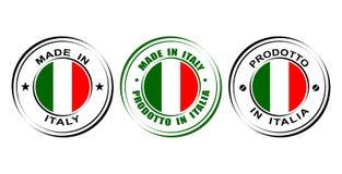 Etiqueta redonda hecha en Italia con la bandera stock de ilustración