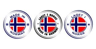 Etiqueta redonda hecha en Noruega con la bandera Imágenes de archivo libres de regalías