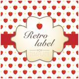 Etiqueta retra de la fresa Imagen de archivo libre de regalías