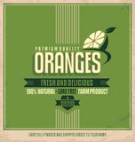 Etiqueta retra de las naranjas Imagen de archivo