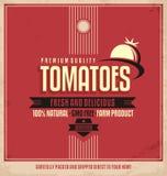 Etiqueta retra del logotipo de los tomates stock de ilustración