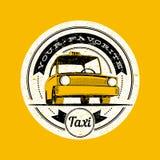 Etiqueta retra del vector del taxi Foto de archivo libre de regalías
