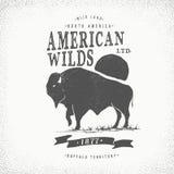 Etiqueta retro do búfalo ilustração stock