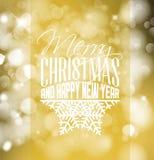 Etiqueta retro do Natal no fundo borrado Imagens de Stock Royalty Free