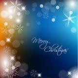 Etiqueta retro do Natal no fundo borrado Fotografia de Stock Royalty Free