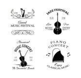 Etiqueta retro do vintage da música Violino, harpa, piano Crachás do festival e do concerto Ilustração do vetor no branco Fotografia de Stock Royalty Free
