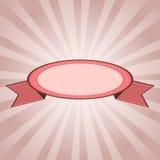 Rosa da etiqueta do vintage com sunrays Fotografia de Stock Royalty Free