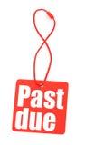 Etiqueta roja con con la inscripción atrasada Imagen de archivo