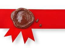 Etiqueta roja con la cera del sello Fotos de archivo libres de regalías