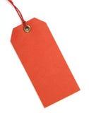 Etiqueta roja con la cuerda de rosca roja Imagenes de archivo
