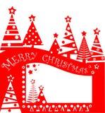 Etiqueta roja de la Navidad para la venta con los abetos abstractos de papel cortados Diseño plano Fotos de archivo libres de regalías