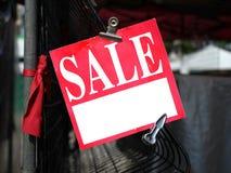 Etiqueta roja de la venta Foto de archivo