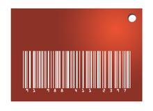 Etiqueta roja del código de barras Fotografía de archivo libre de regalías