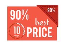 Etiqueta roja del mejor precio 90 en el ejemplo del vector Foto de archivo libre de regalías
