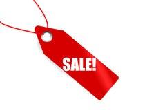 Etiqueta roja del mercado con venta de la palabra en ella Stock de ilustración