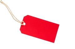 Etiqueta roja en blanco Imagenes de archivo