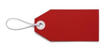 Etiqueta roja en blanco foto de archivo libre de regalías