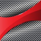 Etiqueta roja en vector de la malla del círculo del metal Imagen de archivo