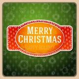Etiqueta roja estilizada vintage de la Feliz Navidad, Imágenes de archivo libres de regalías