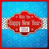Etiqueta roja estilizada vintage del Año Nuevo, textura encendido Imagen de archivo libre de regalías