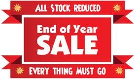Etiqueta roja o insignia de la venta de final de año aislada en el CCB blanco stock de ilustración