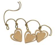 Etiqueta romántica con los corazones Imagenes de archivo