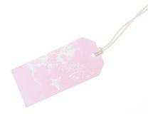 Etiqueta rosada Fotografía de archivo libre de regalías