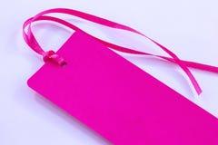 Etiqueta rosada Imágenes de archivo libres de regalías