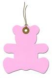 Etiqueta rosada del regalo de la fiesta de bienvenida al bebé del Peluche-oso Imagen de archivo libre de regalías