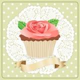 Etiqueta Rose Flower Cupcake stock de ilustración