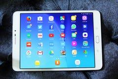 Etiqueta s2 de Samsung con los iconos androides de los usos Imágenes de archivo libres de regalías
