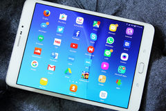 Etiqueta s2 de Samsung con los iconos androides de los usos Imagen de archivo