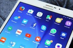 Etiqueta s2 de Samsung con los iconos androides de los usos Imagen de archivo libre de regalías